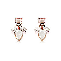 Pink gem front and back earrings