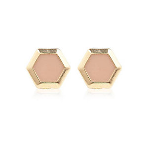 Pink hexagon stud earrings