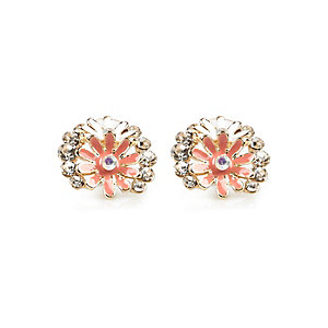 Orange gem flower stud earrings