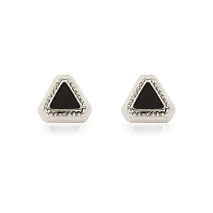 Black triangle stud earrings