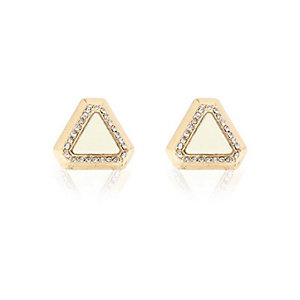 Cream triangle stud earrings