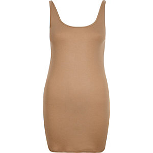 Brown scoop neck longline vest