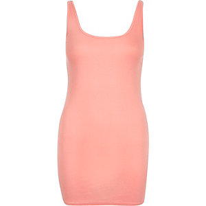 Pink scoop neck longline vest