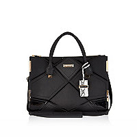 Black structured diamond patchwork tote