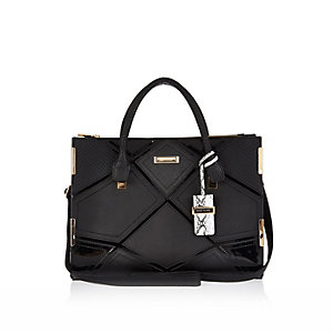 Black diamond patchwork tote handbag