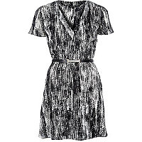 Black monochrome print belted tea dress