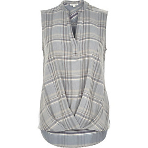 Grey check sleeveless wrap V-neck blouse