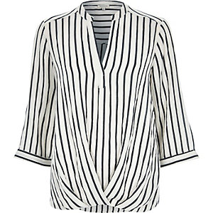 White stripe wrap front V-neck blouse