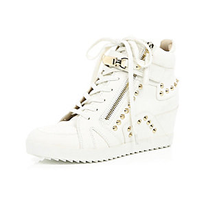 White studded wedge high top trainers