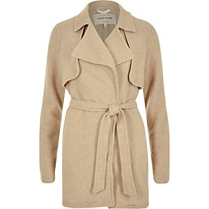 Beige wool-blend short trench jacket