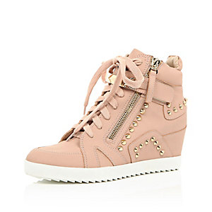 Light pink studded wedge high top sneakers