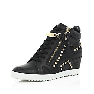 Black studded wedge high top trainers