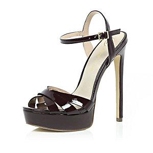 Dark red strappy platform heels