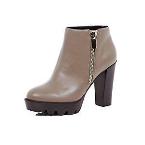 Taupe brown heeled ankle boots