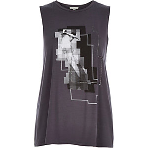 Grey girl photo print tank top