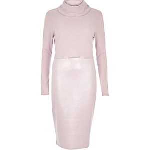 Pink 2-in-1 bodycon dress