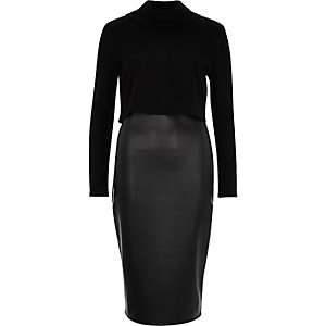 Black 2-in-1 bodycon dress