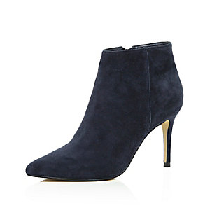 Navy suede pointed ankle boots