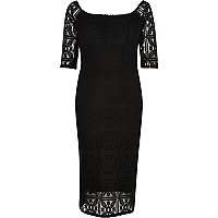 Black 3/4 sleeve lace bardot pencil dress