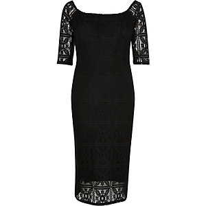 Black 3/4 sleeve lace bardot pencil dress