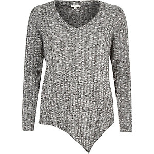 Grey marl asymmetric V-neck top
