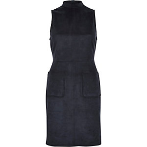 Navy faux-suede sleeveless A-line dress