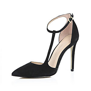 Black suede asymmetric court heels