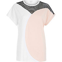 Light pink mesh colourblock t-shirt