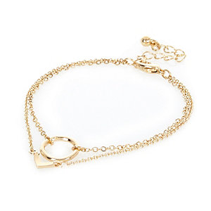 Gold tone circle triangle double bracelet