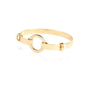 Gold tone minimal circle cuff bracelet