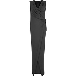 Dark grey drape sleeveless maxi dress