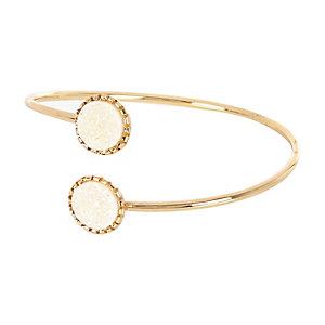 Gold tone glitter stone arm cuff