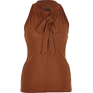 Rust brown pussybow sleeveless blouse