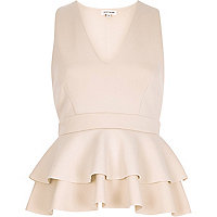 Light pink double peplum top