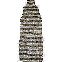 Grey metallic stripe roll neck top