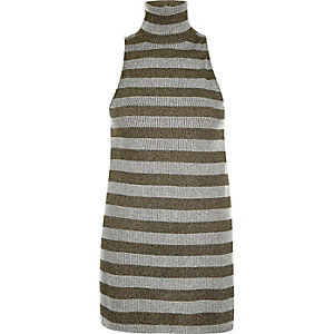 Grey metallic stripe roll neck top