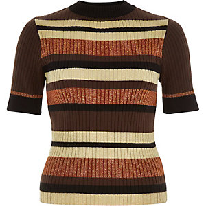 Brown ribbed metallic stripe top
