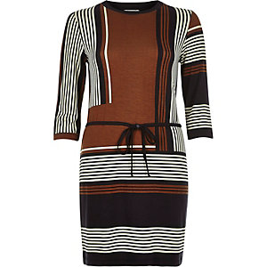 Brown stripe waisted tunic