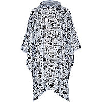 Grey printed hooded rain poncho