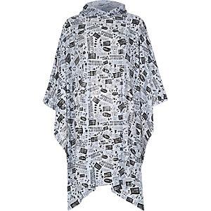 Grey printed hooded rain poncho