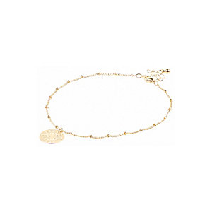 Gold tone filigree disc anklet