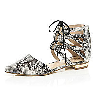 Beige snake print lace up ankle flats