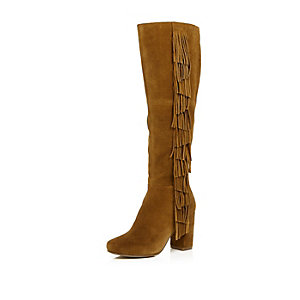 Brown suede fringed knee high heeled boots