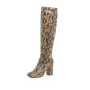 Beige snake print heeled knee high boots