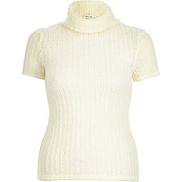 Cream chunky short sleeve roll neck