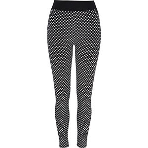 Black tile print high waisted leggings
