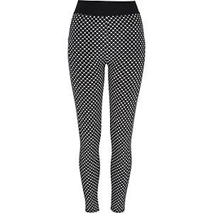 Black tile print high waisted leggings