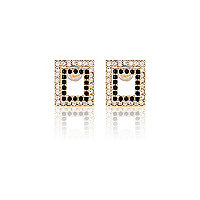 Black square front and back earrings