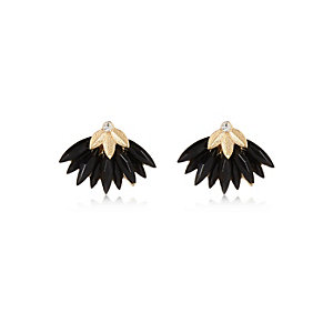 Black layered leaf stud earrings