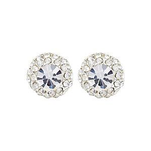 Silver tone mega diamante stud earrings